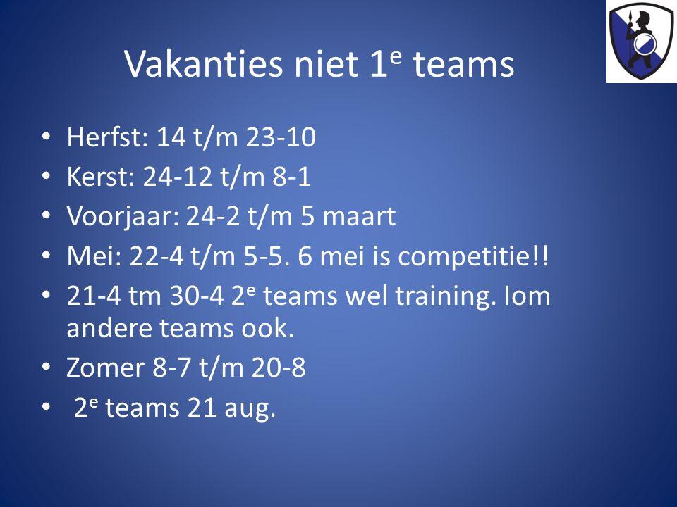 Vakanties niet 1 e teams Herfst: 14 t/m 23-10 Kerst: 24-12 t/m 8-1 Voorjaar: 24-2 t/m 5 maart Mei: 22-4 t/m 5-5. 6 mei is competitie!! 21-4 tm 30-4 2