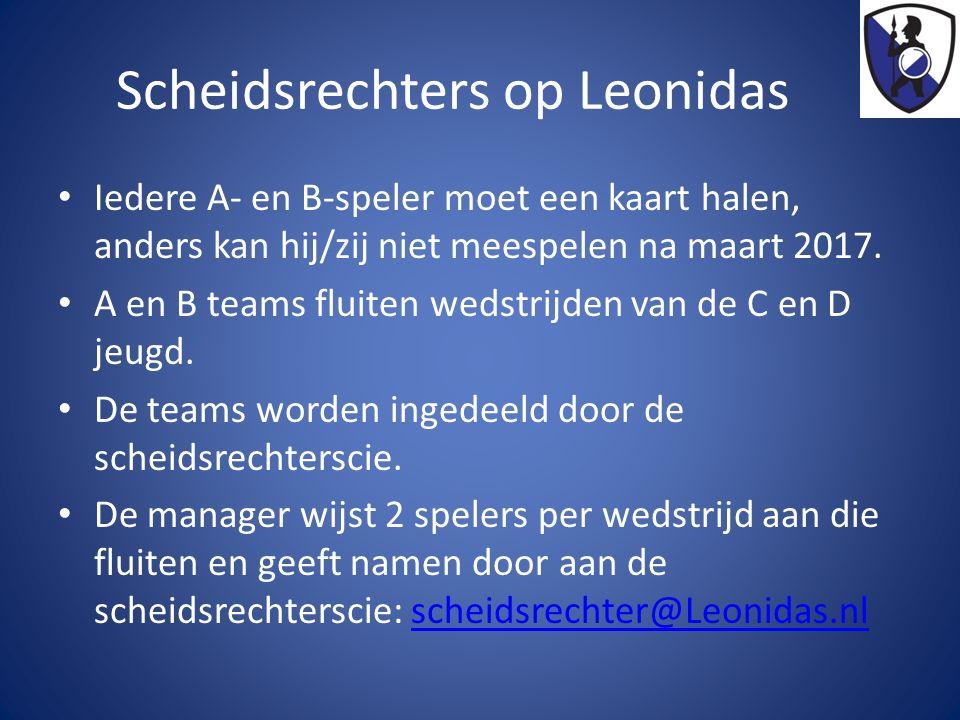 Scheidsrechters op Leonidas Iedere A- en B-speler moet een kaart halen, anders kan hij/zij niet meespelen na maart 2017.