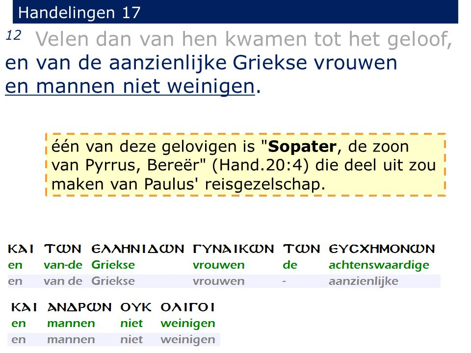 Handelingen 17 12 Velen dan van hen kwamen tot het geloof, en van de aanzienlijke Griekse vrouwen en mannen niet weinigen. één van deze gelovigen is