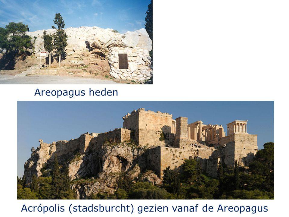 Areopagus heden Acrópolis (stadsburcht) gezien vanaf de Areopagus