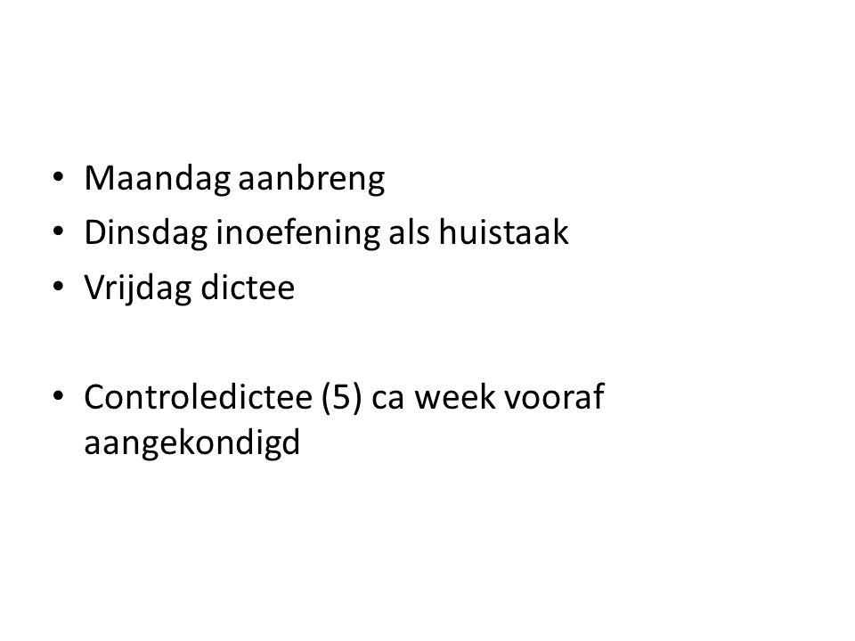 Maandag aanbreng Dinsdag inoefening als huistaak Vrijdag dictee Controledictee (5) ca week vooraf aangekondigd