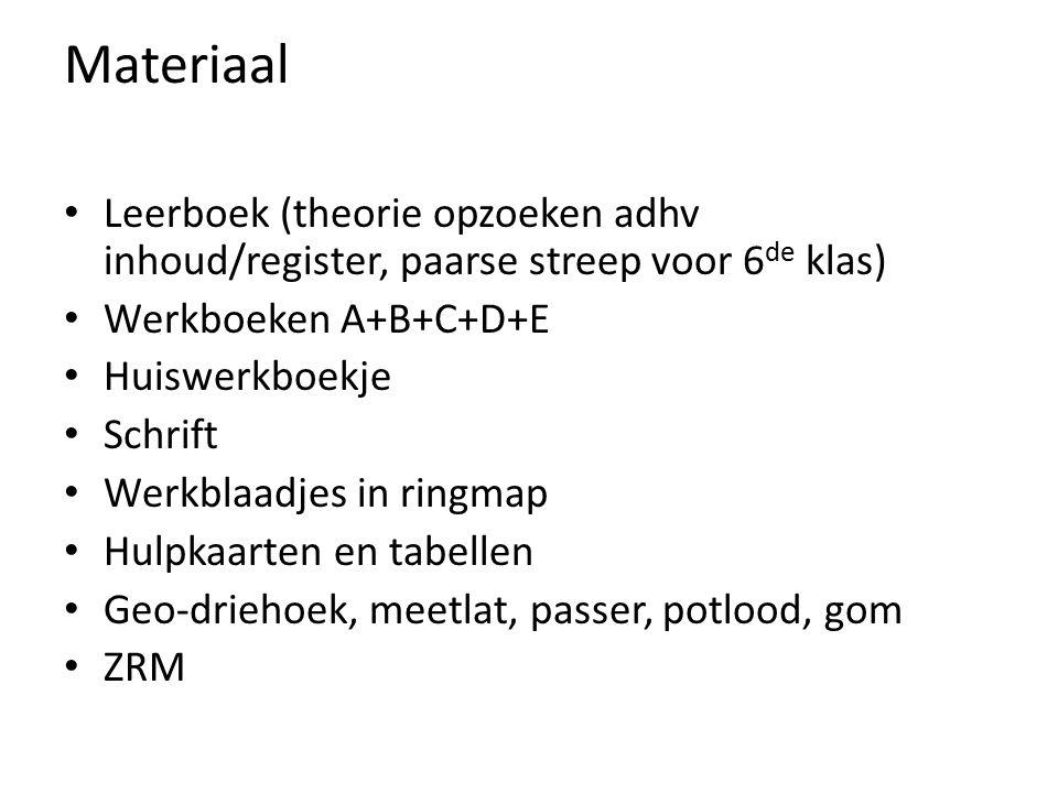 Materiaal Leerboek (theorie opzoeken adhv inhoud/register, paarse streep voor 6 de klas) Werkboeken A+B+C+D+E Huiswerkboekje Schrift Werkblaadjes in ringmap Hulpkaarten en tabellen Geo-driehoek, meetlat, passer, potlood, gom ZRM