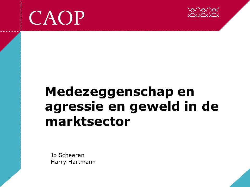 Medezeggenschap en agressie en geweld in de marktsector Jo Scheeren Harry Hartmann