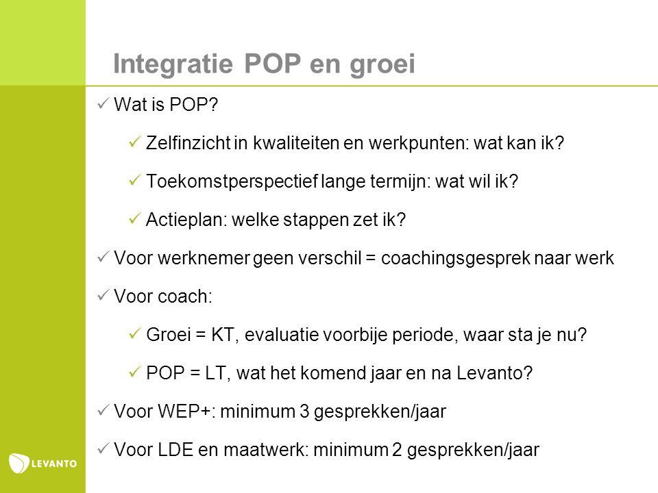 Integratie POP en groei Wat is POP. Zelfinzicht in kwaliteiten en werkpunten: wat kan ik.
