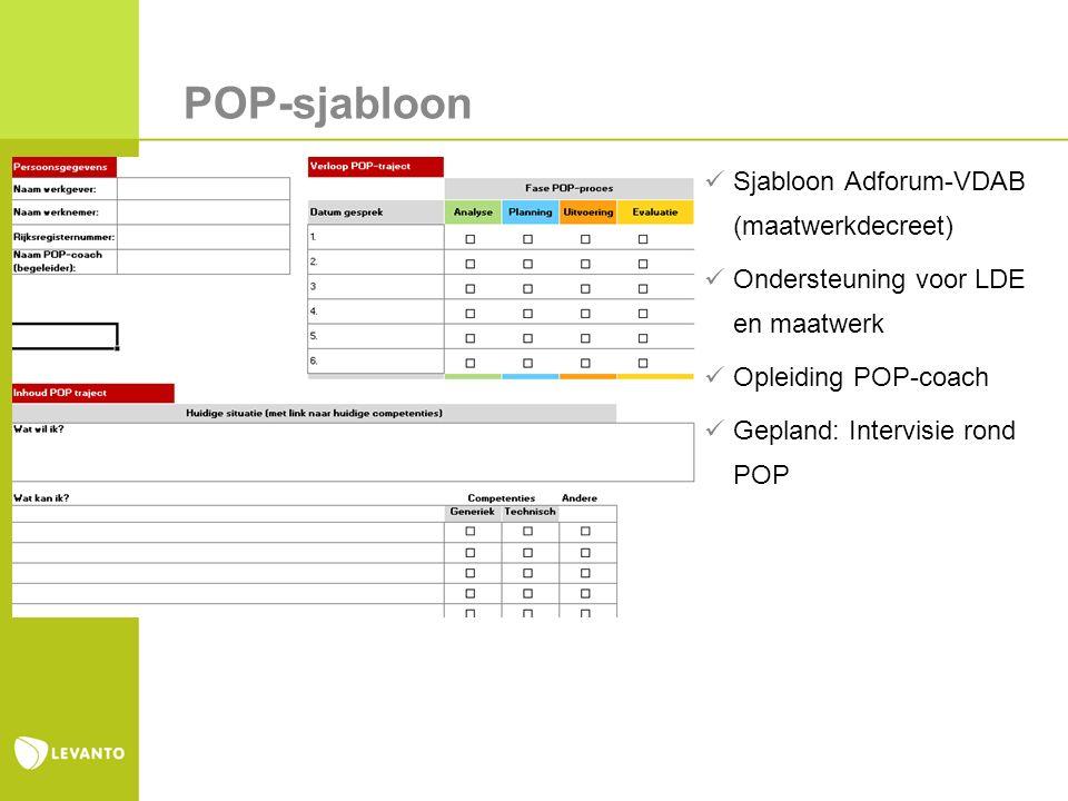 POP-sjabloon Sjabloon Adforum-VDAB (maatwerkdecreet) Ondersteuning voor LDE en maatwerk Opleiding POP-coach Gepland: Intervisie rond POP