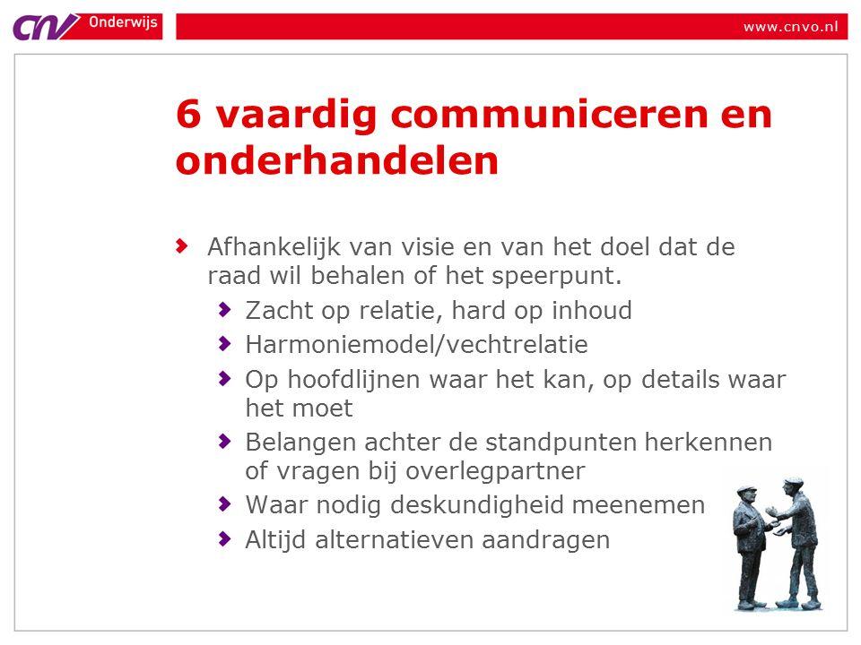 www.cnvo.nl 6 vaardig communiceren en onderhandelen Afhankelijk van visie en van het doel dat de raad wil behalen of het speerpunt.