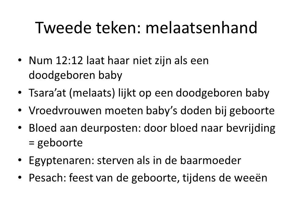 Tweede teken: melaatsenhand Num 12:12 laat haar niet zijn als een doodgeboren baby Tsara'at (melaats) lijkt op een doodgeboren baby Vroedvrouwen moete