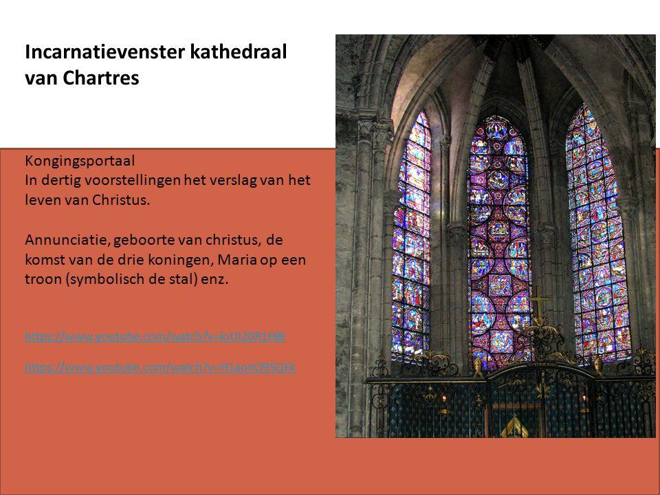 Incarnatievenster kathedraal van Chartres Kongingsportaal In dertig voorstellingen het verslag van het leven van Christus.