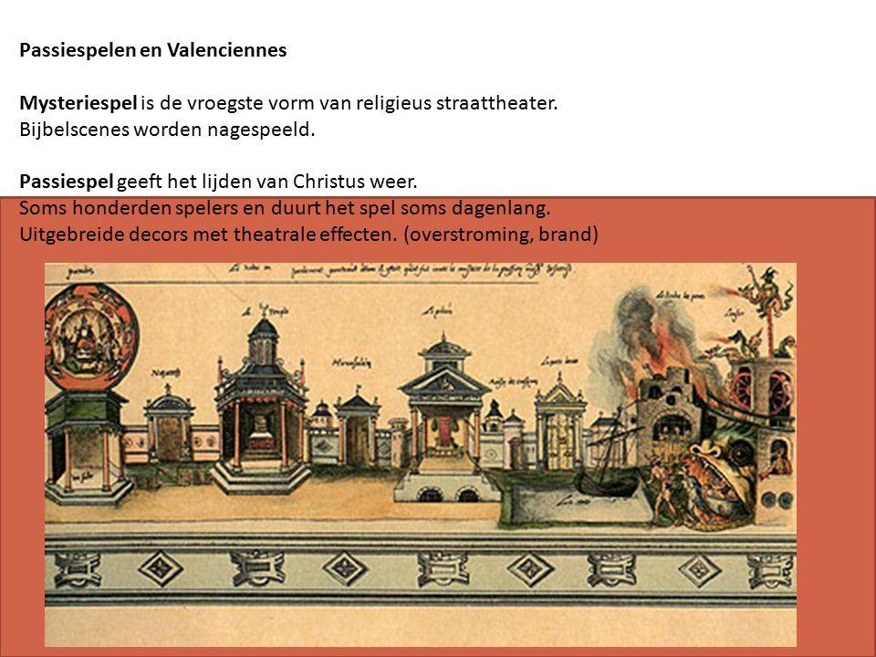 Passiespelen en Valenciennes Mysteriespel is de vroegste vorm van religieus straattheater.
