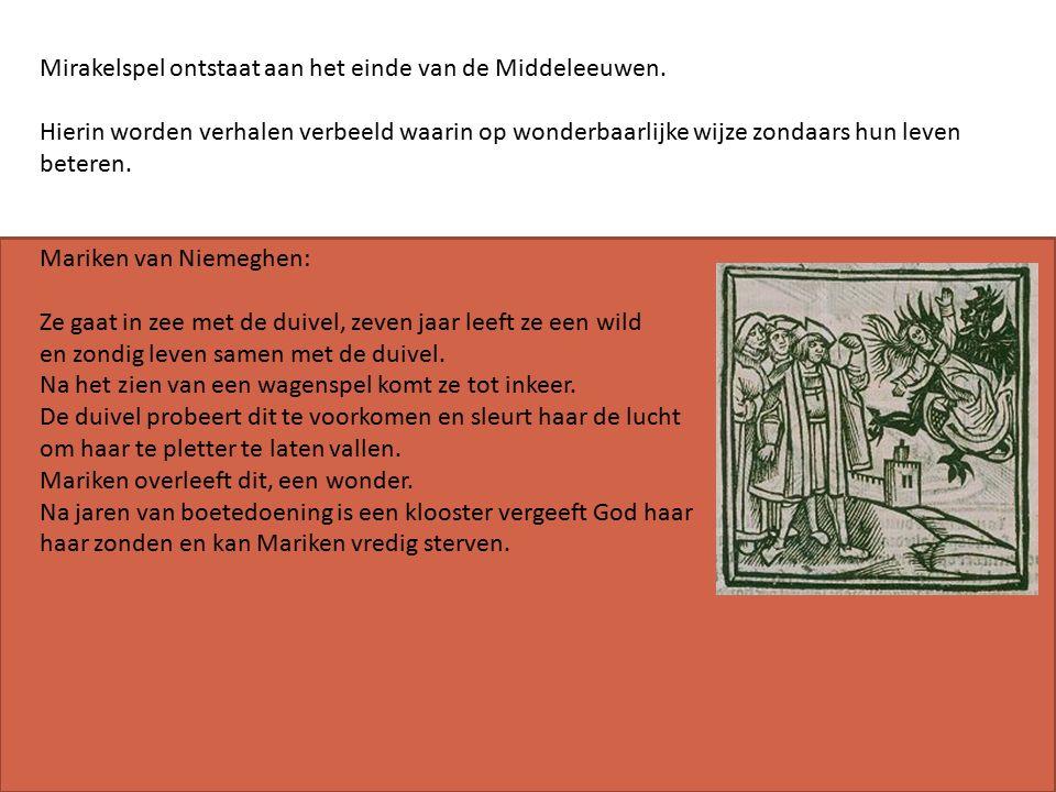 Mirakelspel ontstaat aan het einde van de Middeleeuwen.