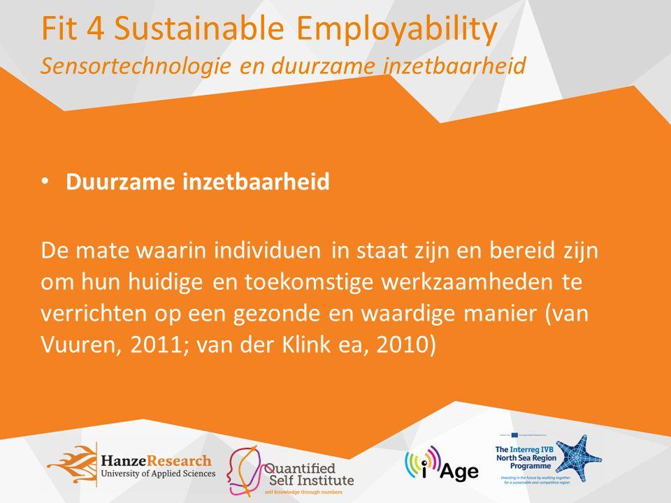 Duurzame inzetbaarheid De mate waarin individuen in staat zijn en bereid zijn om hun huidige en toekomstige werkzaamheden te verrichten op een gezonde en waardige manier (van Vuuren, 2011; van der Klink ea, 2010)