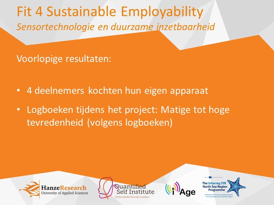 Fit 4 Sustainable Employability Sensortechnologie en duurzame inzetbaarheid Voorlopige resultaten: 4 deelnemers kochten hun eigen apparaat Logboeken tijdens het project: Matige tot hoge tevredenheid (volgens logboeken)
