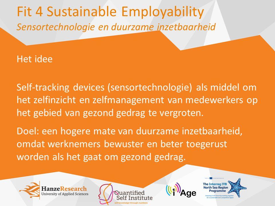Fit 4 Sustainable Employability Sensortechnologie en duurzame inzetbaarheid Twaalf werknemers, variërend in leeftijd, kozen een van de 5 domeinen om te meten ('big five for healthy life', QSI) Dagelijkse fysieke activiteit Voedsel en voeding Slaap Stress Sociale interactie