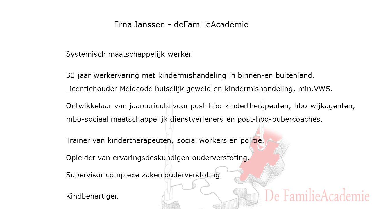 Erna Janssen - deFamilieAcademie Systemisch maatschappelijk werker.