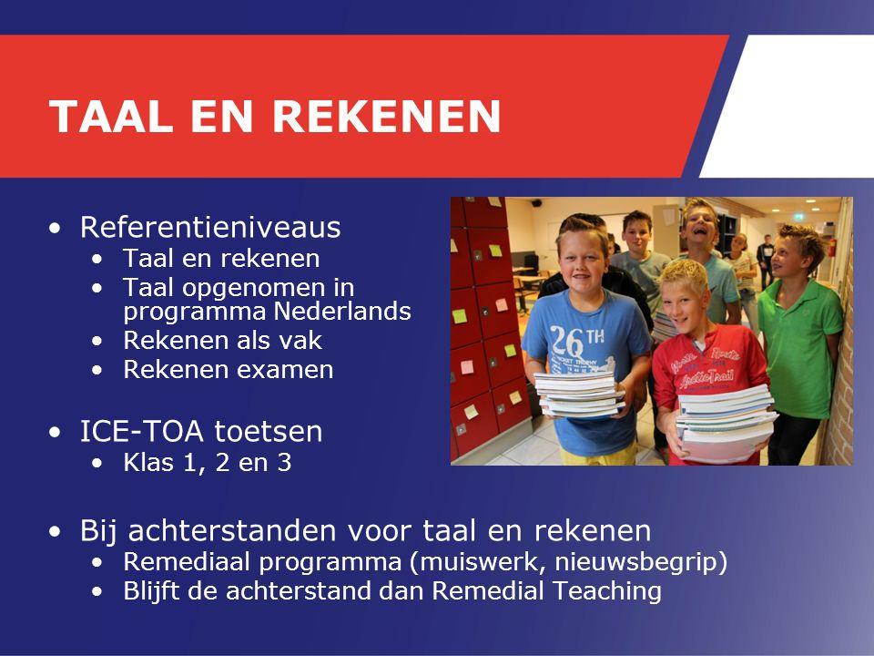 Referentieniveaus Taal en rekenen Taal opgenomen in programma Nederlands Rekenen als vak Rekenen examen ICE-TOA toetsen Klas 1, 2 en 3 Bij achterstanden voor taal en rekenen Remediaal programma (muiswerk, nieuwsbegrip) Blijft de achterstand dan Remedial Teaching TAAL EN REKENEN