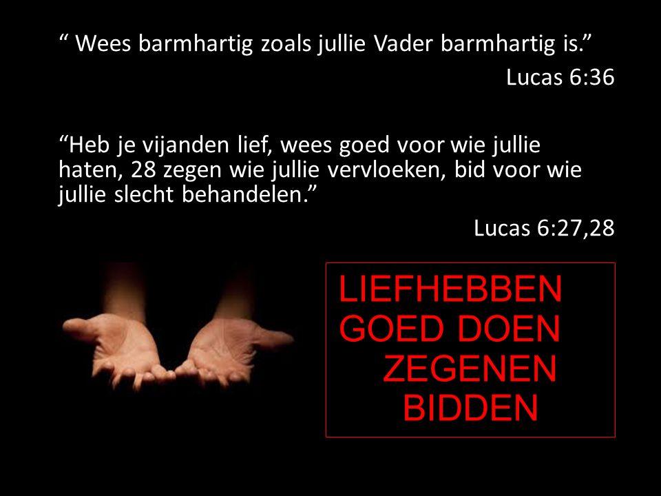 LIEFHEBBEN GOED DOEN ZEGENEN BIDDEN Wees barmhartig zoals jullie Vader barmhartig is. Lucas 6:36 Heb je vijanden lief, wees goed voor wie jullie haten, 28 zegen wie jullie vervloeken, bid voor wie jullie slecht behandelen. Lucas 6:27,28