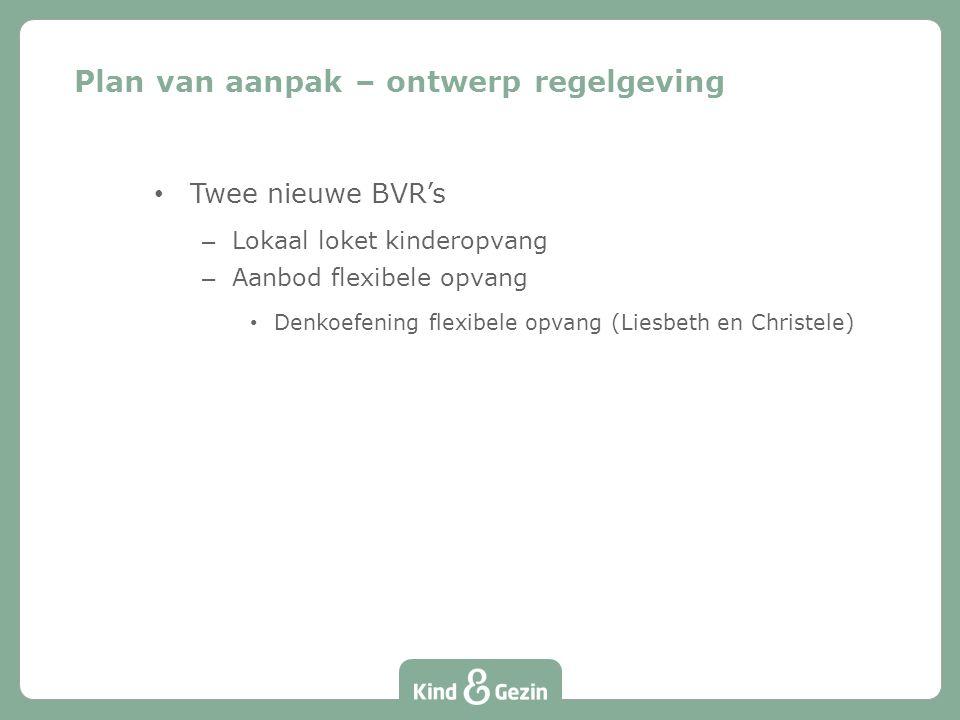 Twee nieuwe BVR's – Lokaal loket kinderopvang – Aanbod flexibele opvang Denkoefening flexibele opvang (Liesbeth en Christele) Plan van aanpak – ontwerp regelgeving