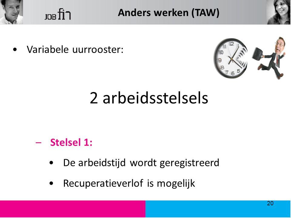 Variabele uurrooster: 2 arbeidsstelsels –Stelsel 1: De arbeidstijd wordt geregistreerd Recuperatieverlof is mogelijk 20