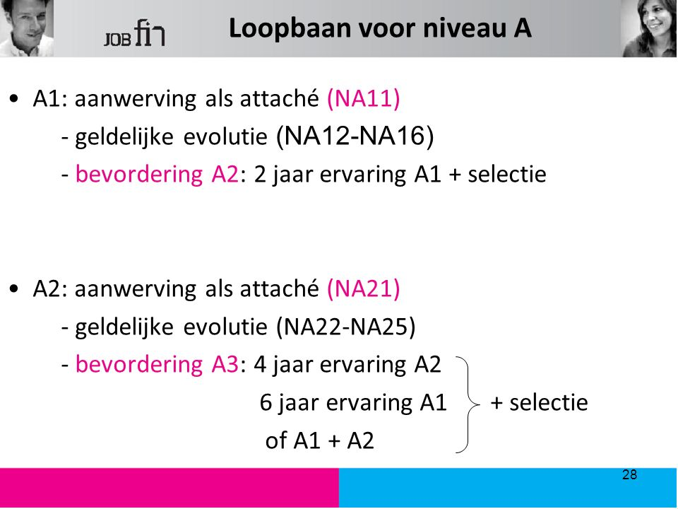 Loopbaan voor niveau A A1: aanwerving als attaché (NA11) - geldelijke evolutie (NA12-NA16) - bevordering A2: 2 jaar ervaring A1 + selectie A2: aanwerving als attaché (NA21) - geldelijke evolutie (NA22-NA25) - bevordering A3: 4 jaar ervaring A2 6 jaar ervaring A1 + selectie of A1 + A2 28
