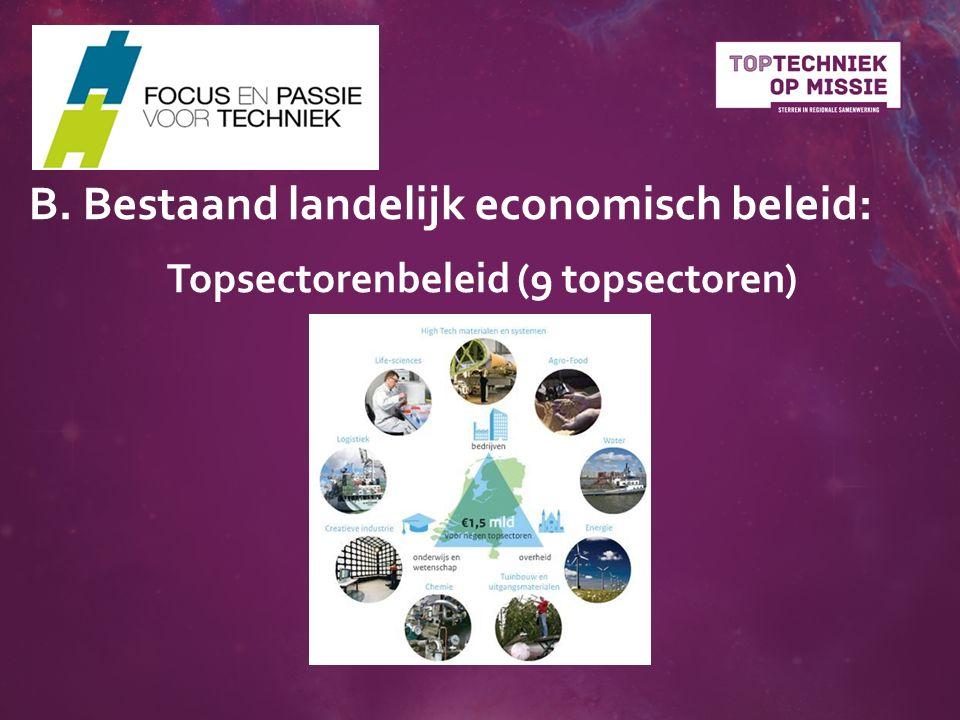 Topsectorenbeleid (9 topsectoren) B. Bestaand landelijk economisch beleid: