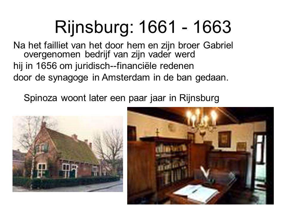 Rijnsburg: 1661 - 1663 Na het failliet van het door hem en zijn broer Gabriel overgenomen bedrijf van zijn vader werd hij in 1656 om juridisch--financiële redenen door de synagoge in Amsterdam in de ban gedaan.