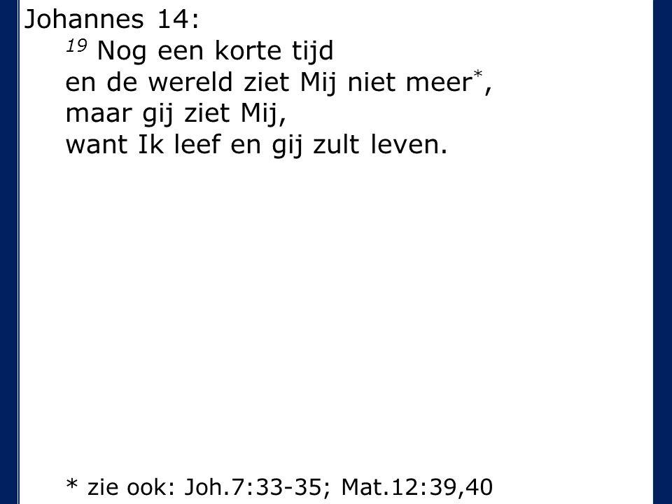 Johannes 14: 19 Nog een korte tijd en de wereld ziet Mij niet meer *, maar gij ziet Mij, want Ik leef en gij zult leven.
