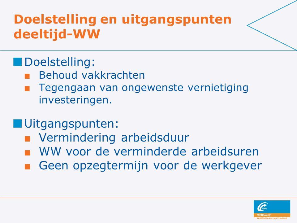 Doelstelling en uitgangspunten deeltijd-WW Doelstelling: Behoud vakkrachten Tegengaan van ongewenste vernietiging investeringen. Uitgangspunten: Vermi