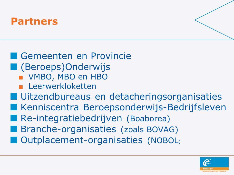 Partners Gemeenten en Provincie (Beroeps)Onderwijs VMBO, MBO en HBO Leerwerkloketten Uitzendbureaus en detacheringsorganisaties Kenniscentra Beroepsonderwijs-Bedrijfsleven Re-integratiebedrijven (Boaborea) Branche-organisaties (zoals BOVAG) Outplacement-organisaties (NOBOL )
