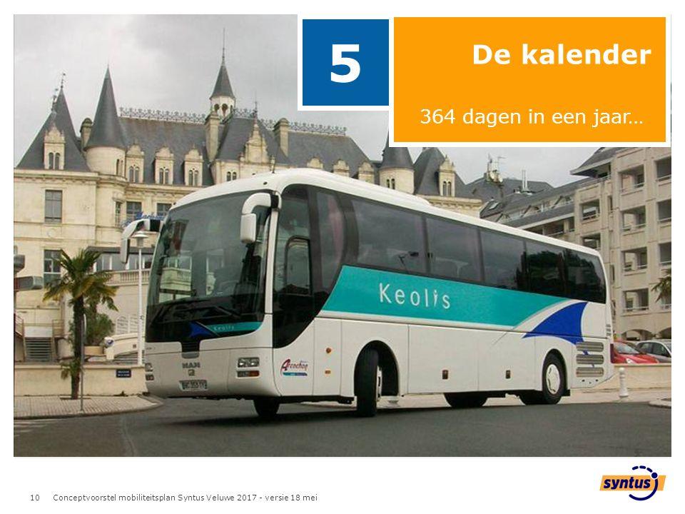 10 De kalender 5 364 dagen in een jaar… Conceptvoorstel mobiliteitsplan Syntus Veluwe 2017 - versie 18 mei