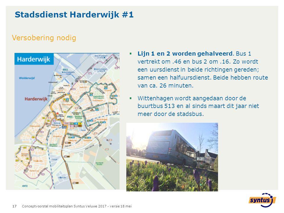 17 Stadsdienst Harderwijk #1 Conceptvoorstel mobiliteitsplan Syntus Veluwe 2017 - versie 18 mei Versobering nodig  Lijn 1 en 2 worden gehalveerd.