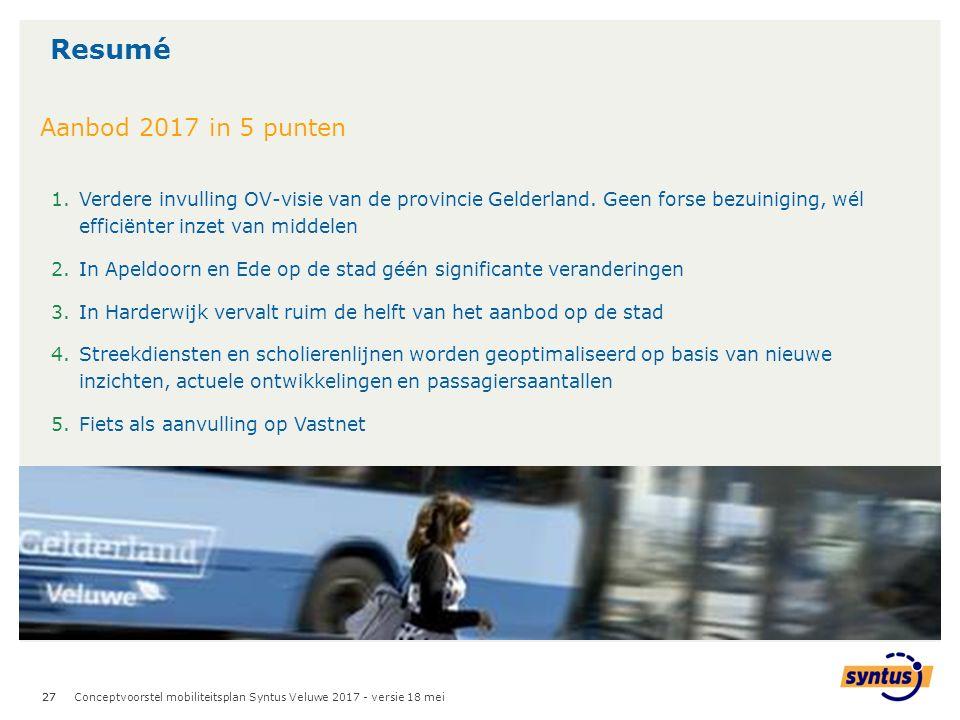 27 Resumé Conceptvoorstel mobiliteitsplan Syntus Veluwe 2017 - versie 18 mei 1.Verdere invulling OV-visie van de provincie Gelderland.