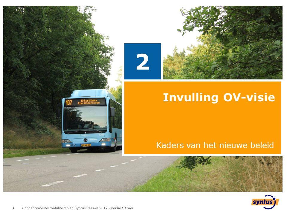 4 4 Invulling OV-visie 2 Kaders van het nieuwe beleid Conceptvoorstel mobiliteitsplan Syntus Veluwe 2017 - versie 18 mei
