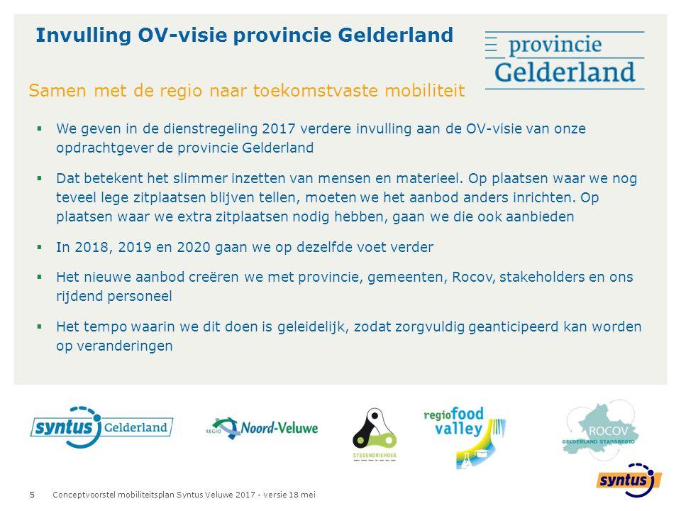 5  We geven in de dienstregeling 2017 verdere invulling aan de OV-visie van onze opdrachtgever de provincie Gelderland  Dat betekent het slimmer inzetten van mensen en materieel.