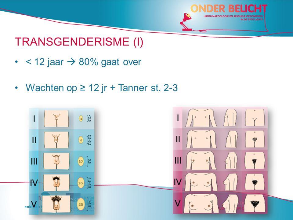 TRANSGENDERISME (I) < 12 jaar  80% gaat over Wachten op ≥ 12 jr + Tanner st. 2-3