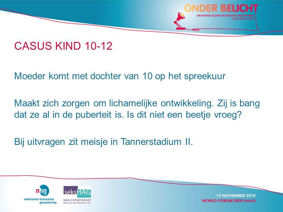 CASUS KIND 10-12 Moeder komt met dochter van 10 op het spreekuur Maakt zich zorgen om lichamelijke ontwikkeling.