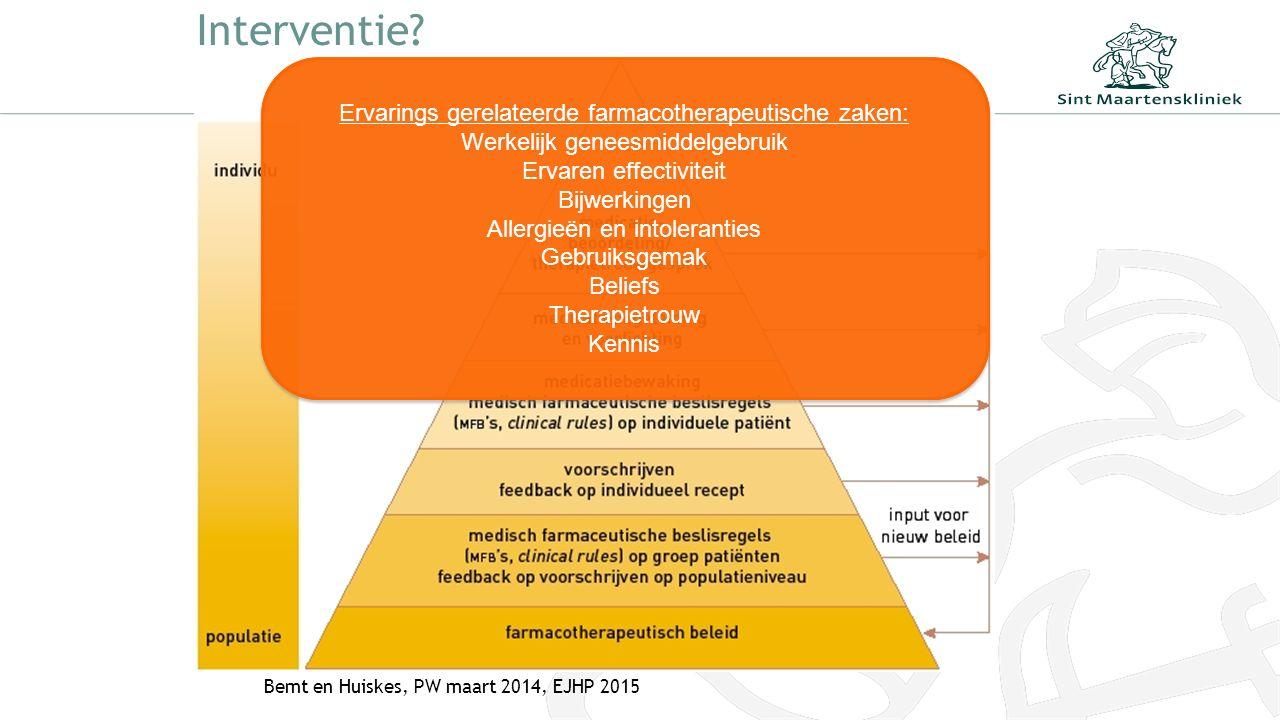 Interventie? Bemt en Huiskes, PW maart 2014, EJHP 2015 Ervarings gerelateerde farmacotherapeutische zaken: Werkelijk geneesmiddelgebruik Ervaren effec