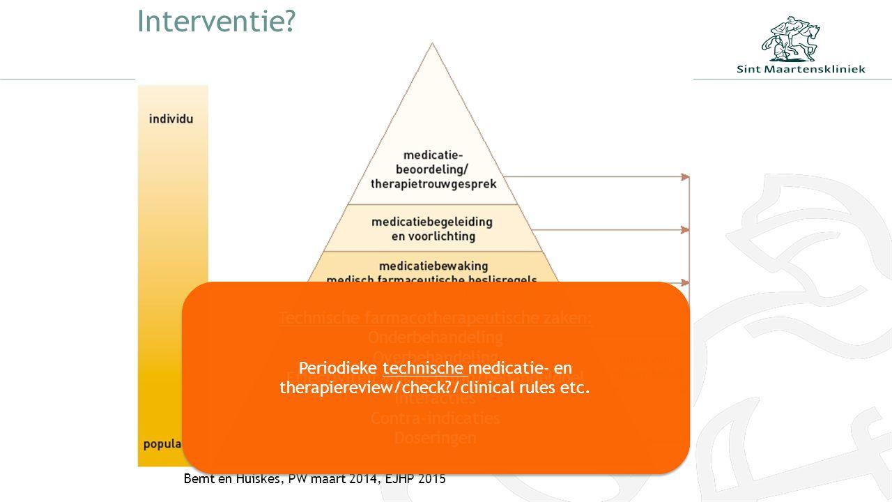 Interventie? Bemt en Huiskes, PW maart 2014, EJHP 2015 Technische farmacotherapeutische zaken: Onderbehandeling Overbehandeling Effectiviteit vlgs ric