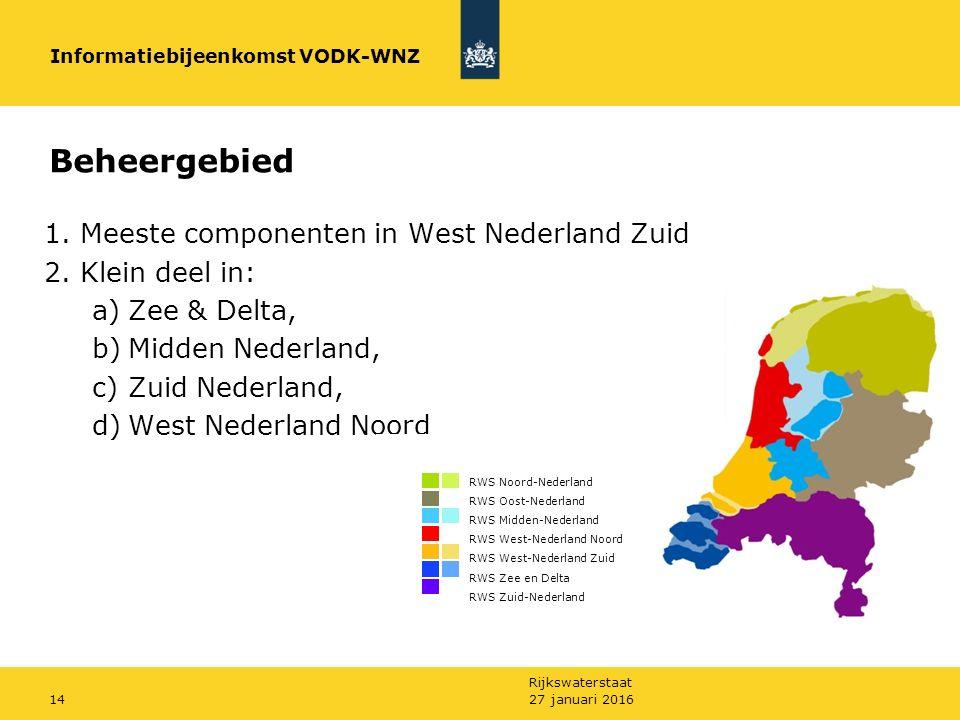 Rijkswaterstaat 27 januari 201614 Beheergebied 1. Meeste componenten in West Nederland Zuid 2.