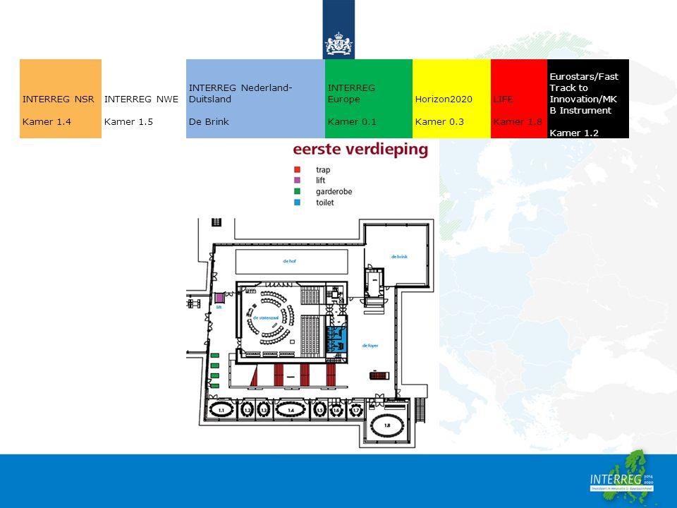 INTERREG NSR Kamer 1.4 INTERREG NWE Kamer 1.5 INTERREG Nederland- Duitsland De Brink INTERREG Europe Kamer 0.1 Horizon2020 Kamer 0.3 LIFE Kamer 1.8 Eurostars/Fast Track to Innovation/MK B Instrument Kamer 1.2