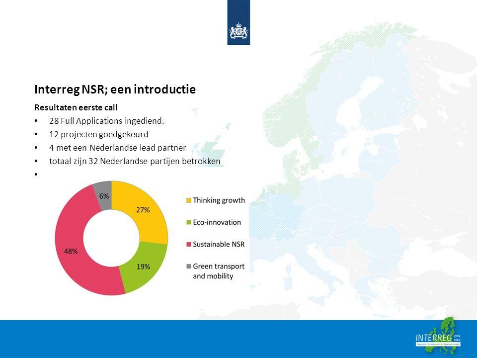 Interreg NSR; een introductie Resultaten eerste call 28 Full Applications ingediend. 12 projecten goedgekeurd 4 met een Nederlandse lead partner totaa