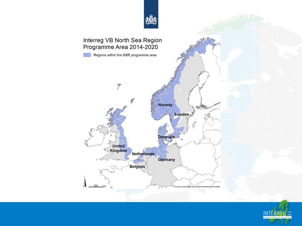 1.Interreg NSR; een introductie Het programma heeft 4 prioriteiten: 1.Thinking Growth 2.Eco Innovation 3.Sustainable North Sea Region 4.Promoting Green Transport & Mobility