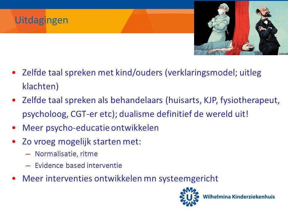 Uitdagingen Zelfde taal spreken met kind/ouders (verklaringsmodel; uitleg klachten) Zelfde taal spreken als behandelaars (huisarts, KJP, fysiotherapeut, psycholoog, CGT-er etc); dualisme definitief de wereld uit.