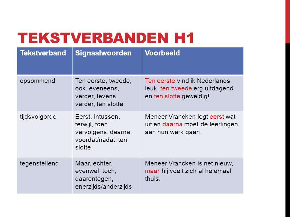 TEKSTVERBANDEN H2 TekstverbandSignaalwoordenVoorbeeld UitleggendBijvoorbeeld, dat wil zeggen, met andere woorden, zoals Meneer Vrancken vindt dit een leuke klas.