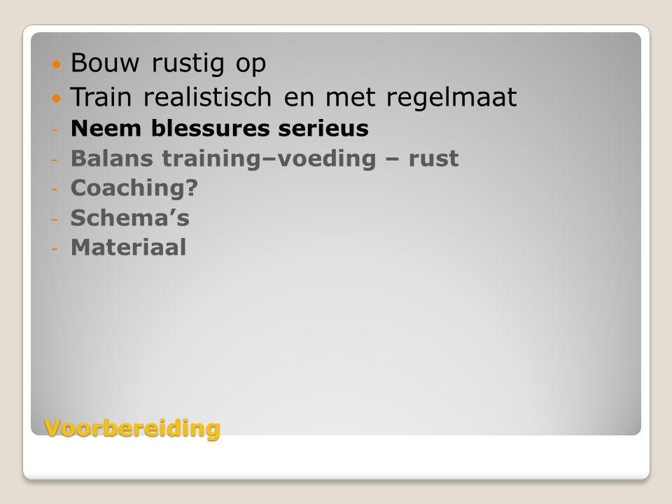 Voorbereiding Bouw rustig op Train realistisch en met regelmaat - Neem blessures serieus - Balans training–voeding – rust - Coaching.
