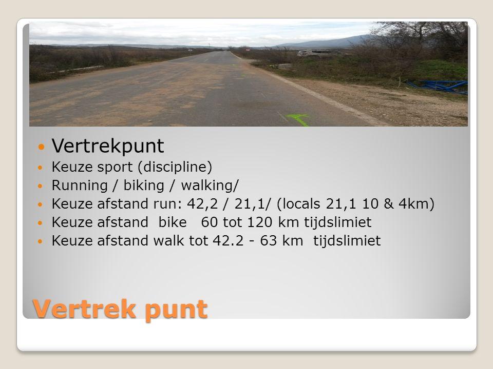 Vertrek punt Keuze sport (discipline) Running / biking / walking/ Keuze afstand run: 42,2 / 21,1/ (locals 21,1 10 & 4km) Keuze afstand bike 60 tot 120 km tijdslimiet Keuze afstand walk tot 42.2 - 63 km tijdslimiet