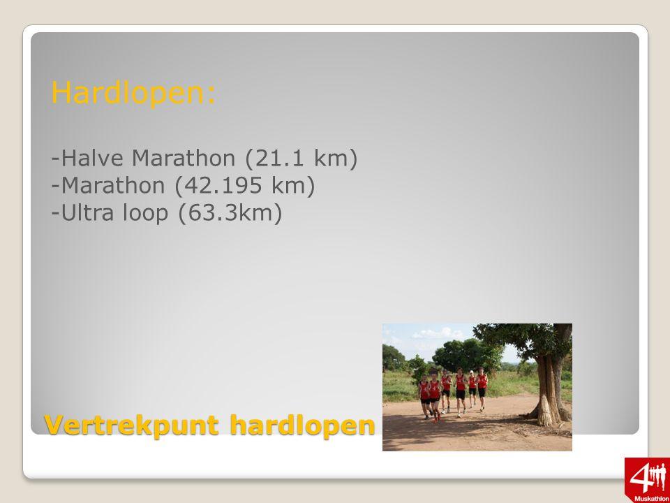 Vertrekpunt hardlopen Hardlopen: -Halve Marathon (21.1 km) -Marathon (42.195 km) -Ultra loop (63.3km)