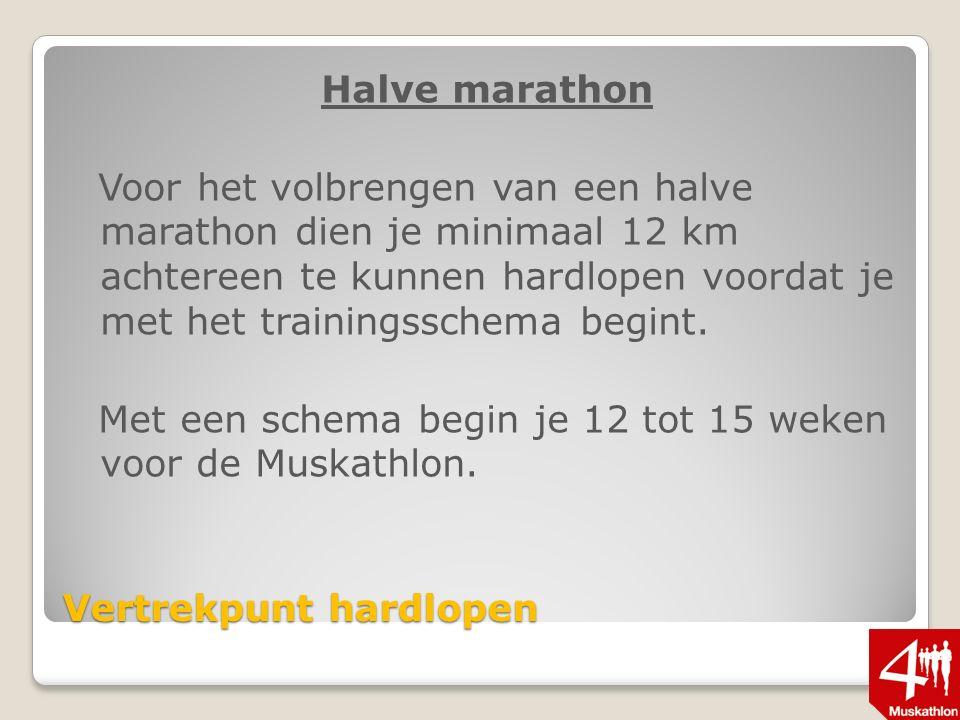 Vertrekpunt hardlopen Halve marathon Voor het volbrengen van een halve marathon dien je minimaal 12 km achtereen te kunnen hardlopen voordat je met het trainingsschema begint.