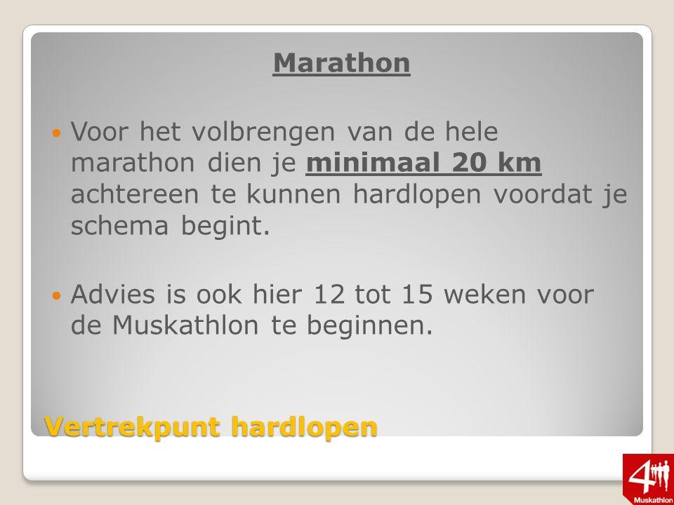 Vertrekpunt hardlopen Marathon Voor het volbrengen van de hele marathon dien je minimaal 20 km achtereen te kunnen hardlopen voordat je schema begint.