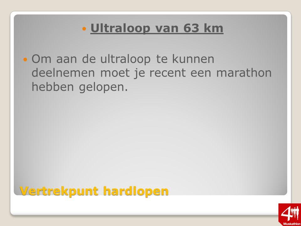 Vertrekpunt hardlopen Ultraloop van 63 km Om aan de ultraloop te kunnen deelnemen moet je recent een marathon hebben gelopen.