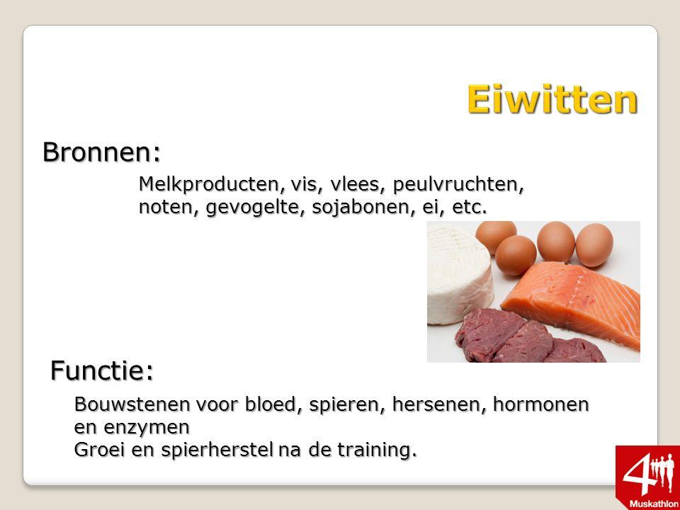 Bronnen: Melkproducten, vis, vlees, peulvruchten, noten, gevogelte, sojabonen, ei, etc.
